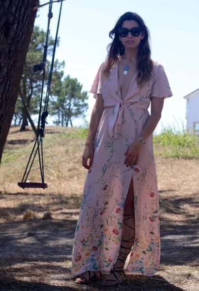 4d7f3eedff ZARA PINK FLORAL PRINTED MAXI DRESS WITH SLIT SIZE XS.REF 2522/762  Bloggers. Hover to zoom