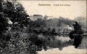 FRANKENBERG-Sachsen-1920-20-alte-Postkarte-Partie-am-Schloss-Sachsenburg