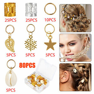 80pcs Hair Jewelry Rings Decor Dreadlock Bead Braiding Pendant Cuff Accessories