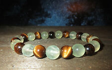 TIGERS EYE & PREHNITE NATURAL GEM BRACELET PROTECTION INNER PEACE