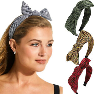Women-039-s-Houndstooth-Bow-Headband-Hairband-Knot-Hair-Band-Hoop-Accessories-Party