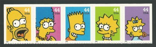 Homer Marge Bart Lisa Maggie Simpson The Simpsons Commemorative US Stamps MINT!