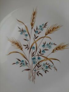 """Canonsburg Pottery Sky Line two 9.5"""" Dinner Plates Wheat Ceramic Vintage 1950's"""