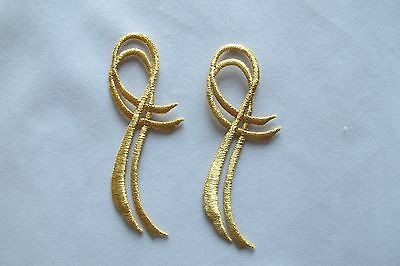 #2928 Lot 2pcs Gold Trim Fringe Ribbon Embroidery Iron On Applique Patch Voor Snelle Verzending