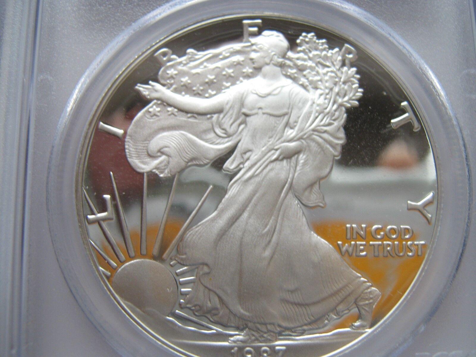 1987-S , Silver Eagle , PCGS , PR 69 , DCAM