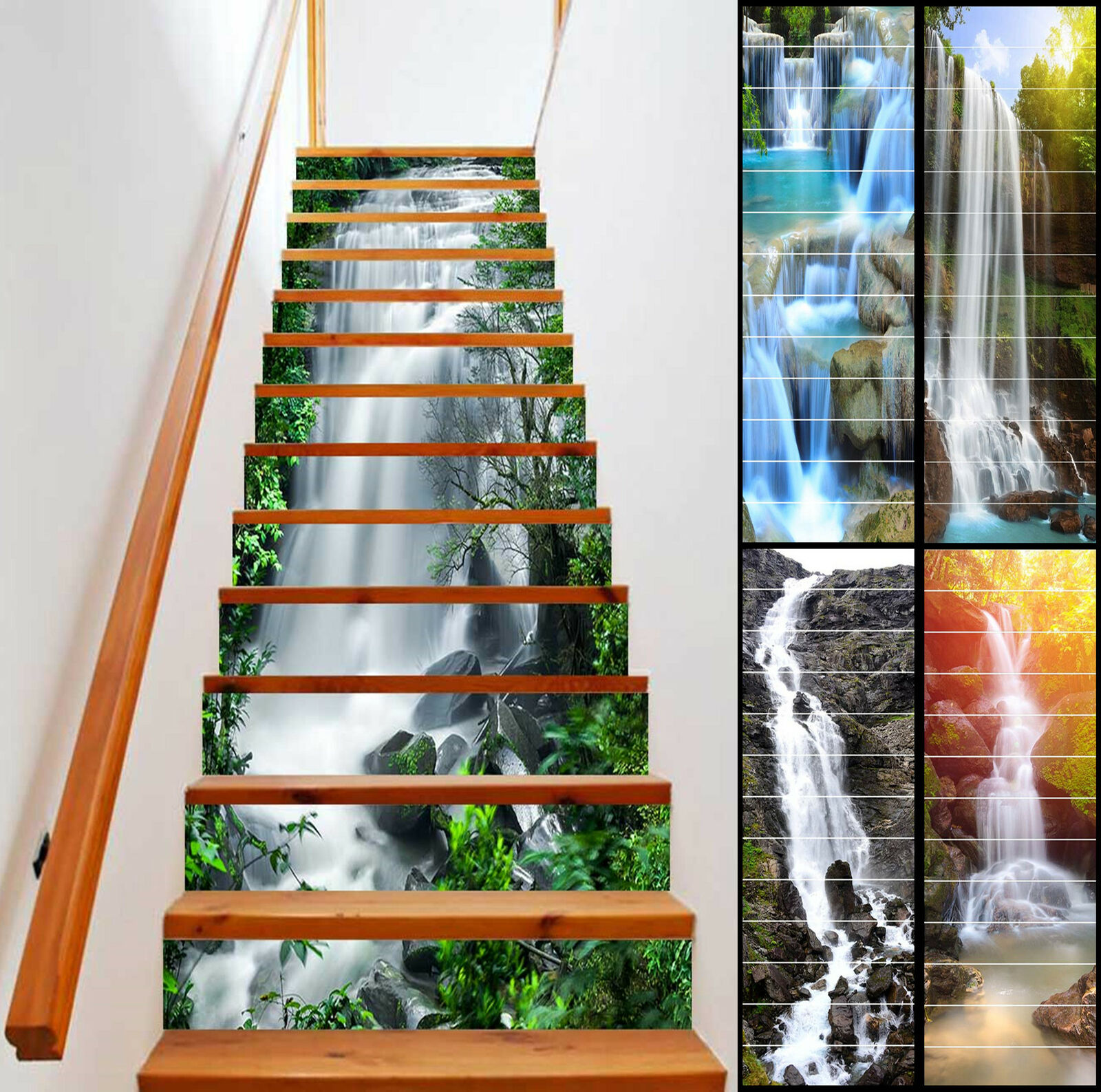 6-13pcs Stair Riser Staircase Sticker Mural Vinyl Decal Scenery Sticker