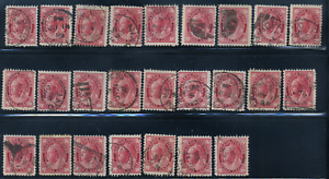 Canada-69-used-F-XF-1898-Queen-Victoria-3c-carmine-Maple-Leaf-loaded-CANCELSx25