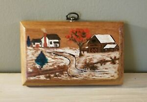 Vintage-Small-Primitive-Folk-Art-Painting-Wood-Country-House-Barn-Landscape-OOAK
