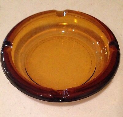 Vintage Mid Century Amber Colored Glass Cigar Ashtray 6""