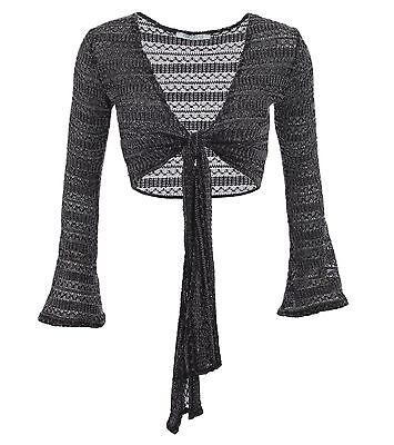 New Grey Crochet Style Bell Sleeve Shrug