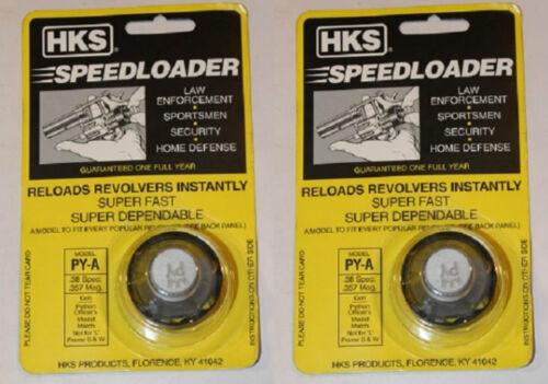 2 HKS PY-A Speedloader for .357 Magnum Black 6 Round Colt Python NEW