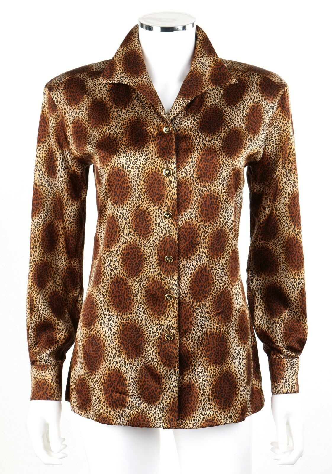 ESCADA Margaretha Ley braun Dot Animal Leopard Print Silk Shirt Blouse Größe 34