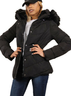 Attentif Paris Ladies Faux Fur Hooded Fitted Puffer Jacket