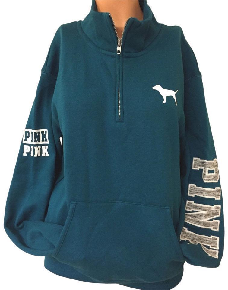 PINK Victoria's Secret Halfzip Boyfriend Sweatshirt Medium bluee Teal Sweater