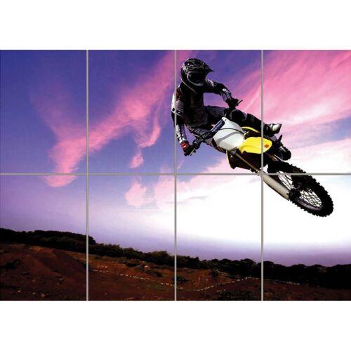 Motocross Dirt Bike Stunt Giant Wall Mural Art Poster Print 47x33 Inches