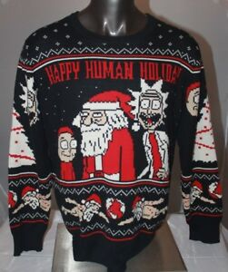 Rick And Morty Christmas Sweater.Details About Rick And Morty Christmas Sweater Happy Human Holiday Official Mens Sz Xl Santa