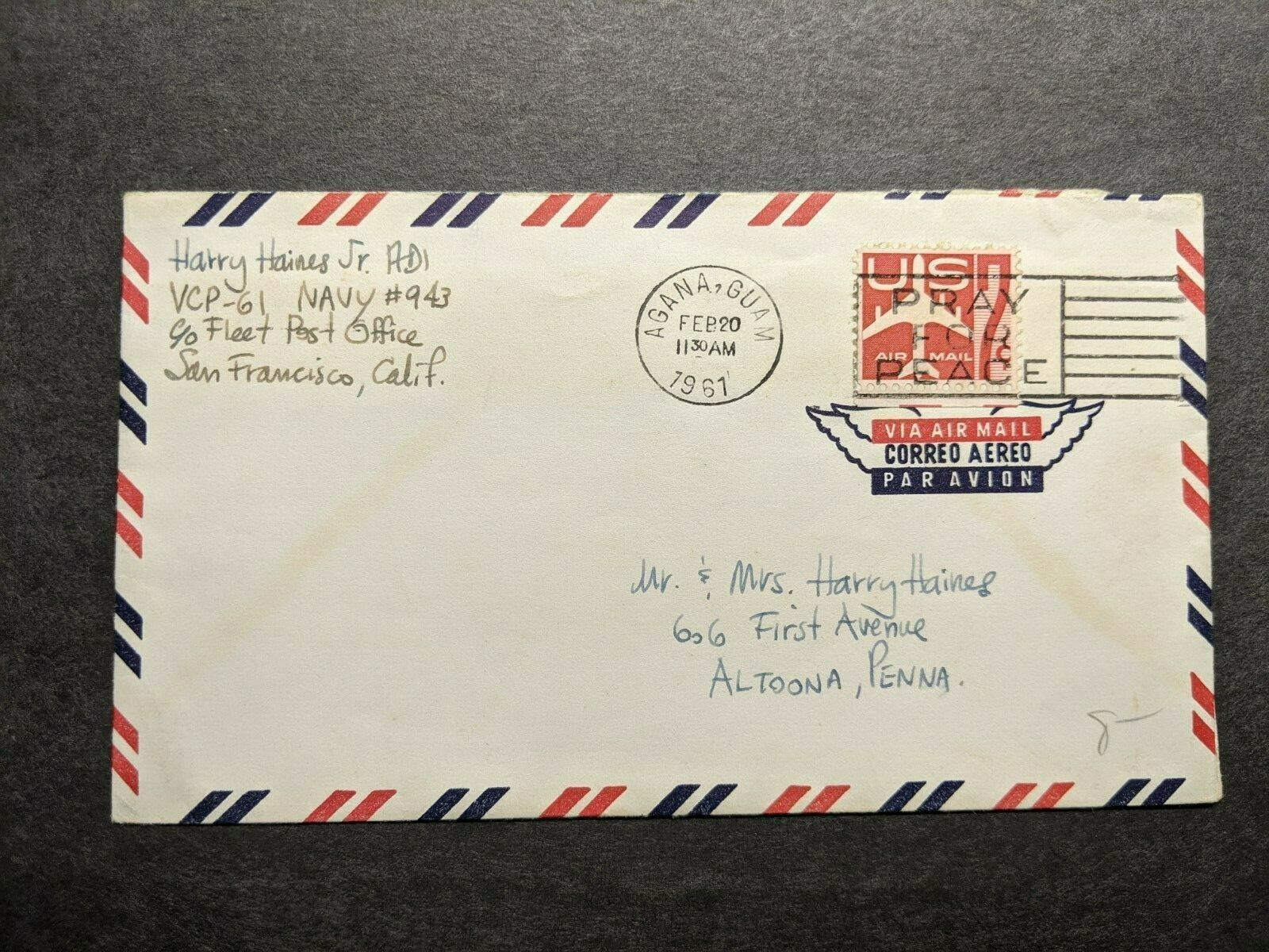 Navy 943 Agana Guam Marianas Islands 1961 Naval Cover Vcp 61 Ebay