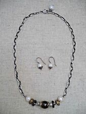 BETH ORDUNA sterling silver faceted smokey quartz sea pearl necklace earring set