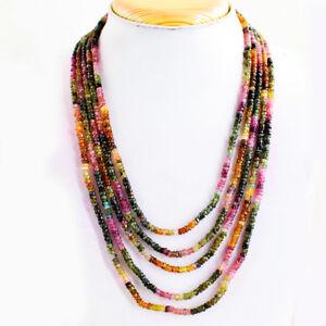 278.00 Cts Natural 5 Strand Pastèque Tourmaline Faceted Beads Necklace Nk01e25-afficher Le Titre D'origine