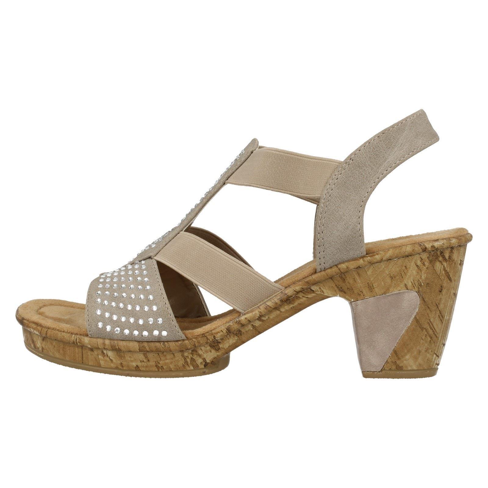 Damen Rieker 69732 Beige Absatz Sandale mit Diamante-Detail