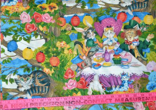 Hoffman Meowice BIG CAT Design Mad Hatter Tea Party Print 1//2 YARD Cotton Fabric