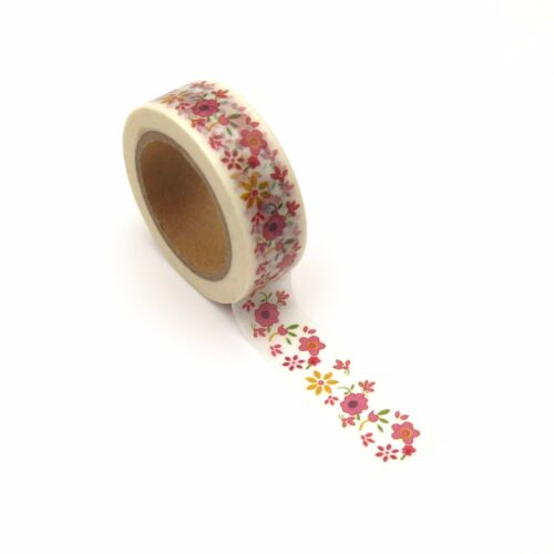 Floral Washi Tape Red Flowers Daisy 15mm x 10m