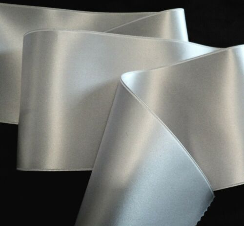 "4/"" WIDE SWISS DOUBLE FACE SATIN RIBBON SILVER BY THE YARD"