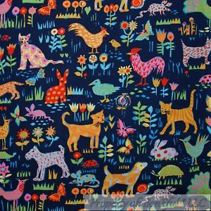 BonEful-Fabric-FQ-Cotton-Quilt-Blue-Flower-Farm-Animal-Rooster-Chicken-Cat-Dog-S