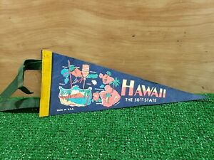 Vintage-70s-The-Valley-Isle-Blue-Felt-Hawaii-Pennant-Banner-Flag-the-50th-state