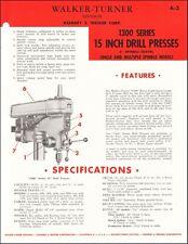Walker Turner 1300 Series 15 Inch Drill Presses Product Spec Sheet