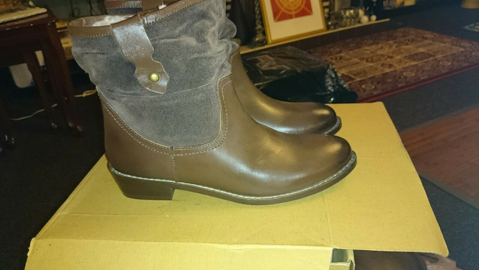 Redfoot women's brown leather slouch boots faux faux faux  fur lining uk  6 950e38