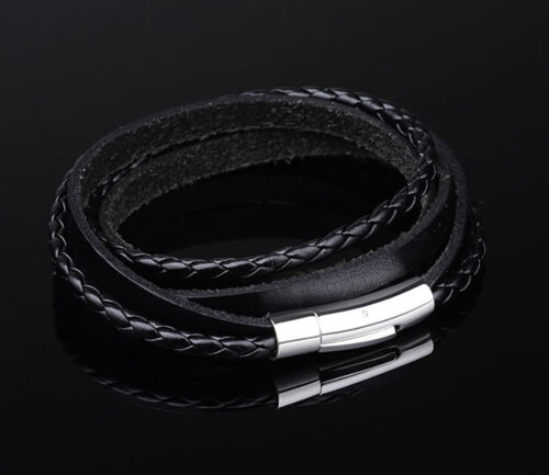Mens Womens Black Braided Leather Wrap Bracelet Stainless Steel Clasp 55 or 62cm