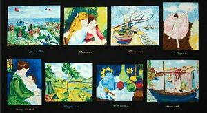 CLEARANCE-Exclusively-Quilters-Pre-cut-Art-Fabric-Panel-A-Day-at-the-Museum