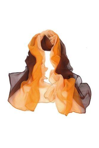 Couleur Gradient dames chale soie Foulard echarpes en mousseline de soie b V9X9