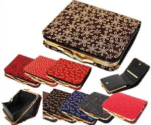 Women Leather Gamaguchi Wallet Billfold Inden 1605 Japan Traditional