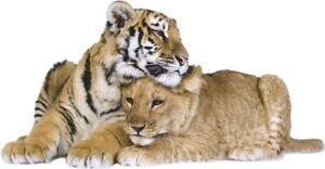AUTOCOLLANT-Mural-STICKER-TIGRE-et-LION-tiger-animaux-sauvages-Stickers-muraux