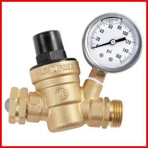 Water Pressure Regulator With Gauge For Rv Hose Accessories High Flow Adjustable Ebay