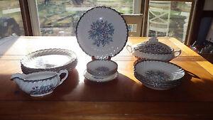 Belvidere Platinum by Royal China Vintage China Dinnerware Set 20pcs 1950