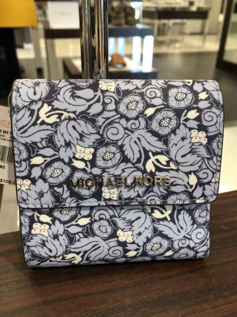 448aa9ae6e79 NWT Michael Kors Small Trifold Card Case Carryall Wallet Navy Pale Blue  Floral
