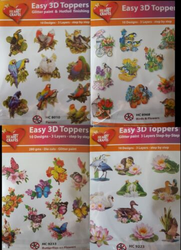 Easy 3D Die Cut Card Toppers Birds Butterflies 10 Designs New