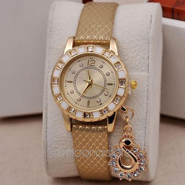 Womens Crystal Rhinestone Swan Pendant Quartz Analog Dress Wrist Watch Bracelet