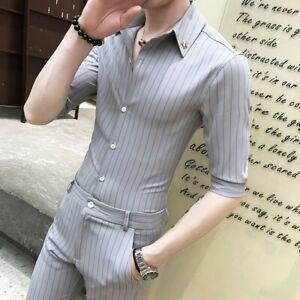 mens suits half sleeve tops prom formal dress casual slim