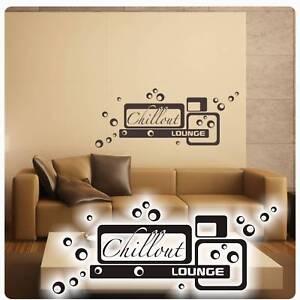 Chillout Lounge Wandtattoo Wandaufkleber Wohnzimmer Retro Vintage ...