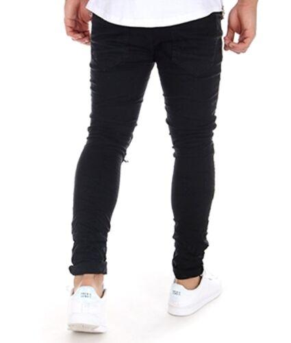 Ripped Jeans Skinny Biker Inches Fit Zip And Black Slim 28 Waist 29 Fly r5wrEU7qg