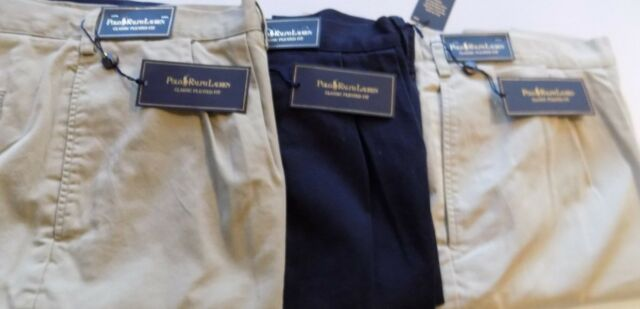 NWT Polo Ralph Lauren Classic Style Pleated Shorts NAVY BLUE Sz 44T, 50 Big&Tall