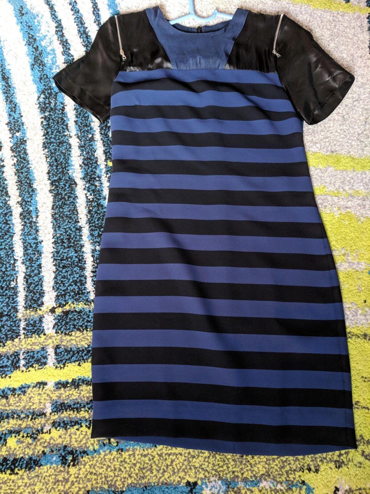 Sandro schwarz and navy stripe dress