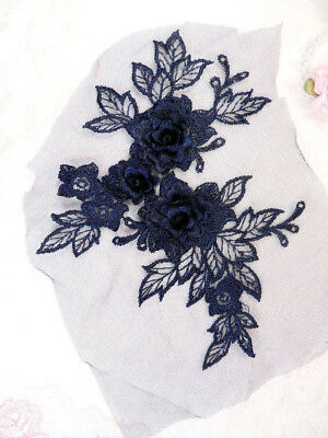 DH83 Embroidered Applique Black Romantic Rose Floral Venice Lace MirrorPair 16/""