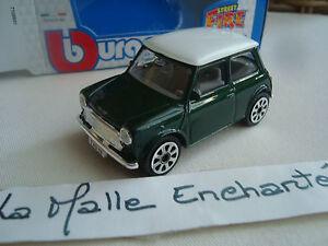 miniature-mini-cooper-echelle-1-43-bburago-neuf-bicolore-vert-toit-blanc