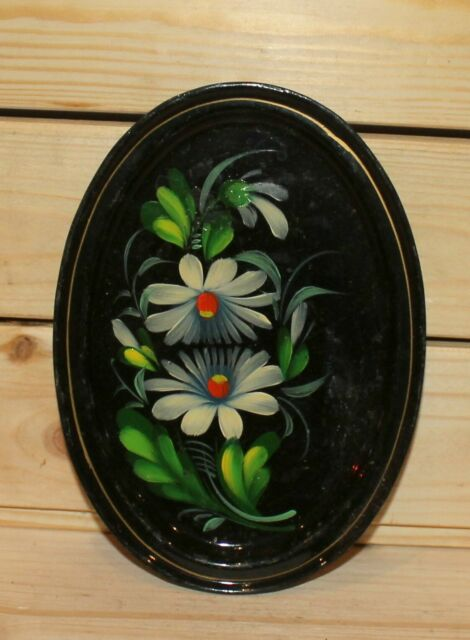 Vintage hand painted floral metal tole plate dish