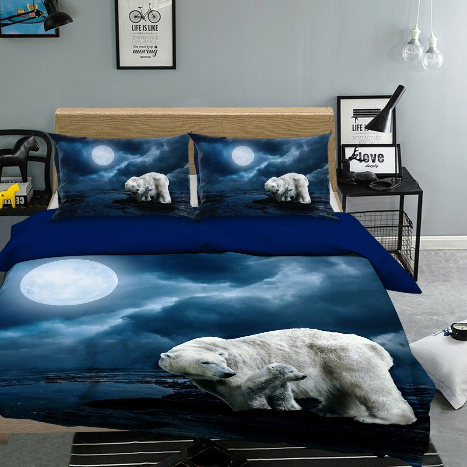 3D Polar Bear T86 Animal Bed Pillowcases Quilt Duvet Cover Set Queen King Sunday